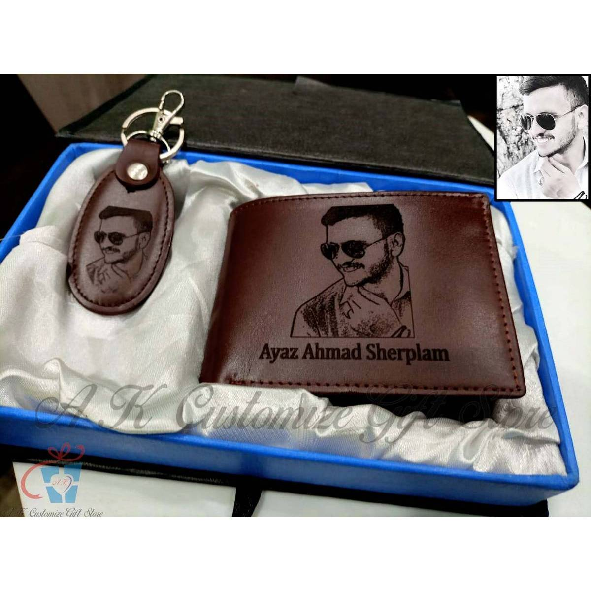 High Quality Customized Your Photo Engraved (Wallet And Key Chain) Set For Men