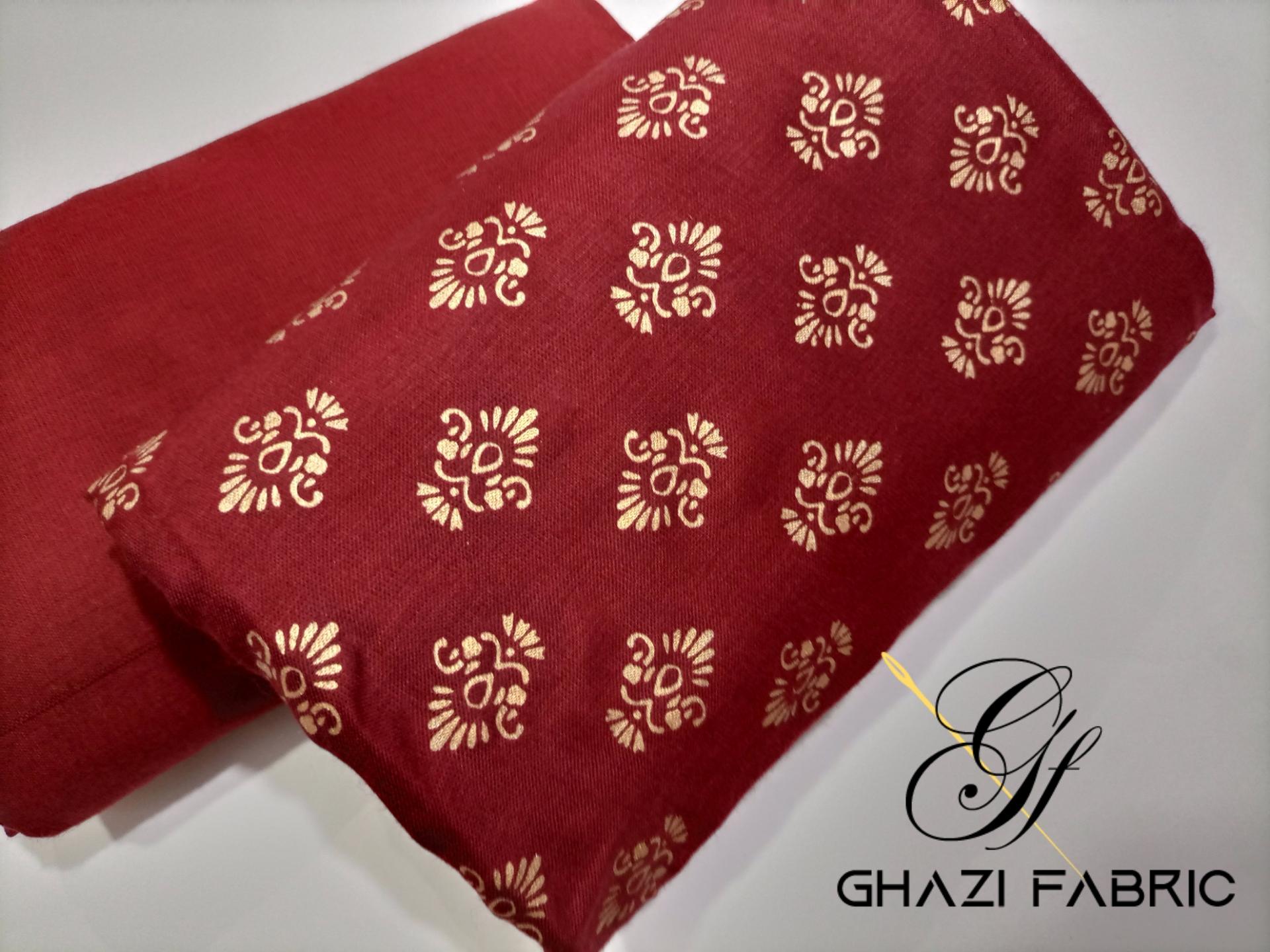 Ghazi fabric Premium quality unstich linen collection  2pc 5/yards mahroon (gf16m)