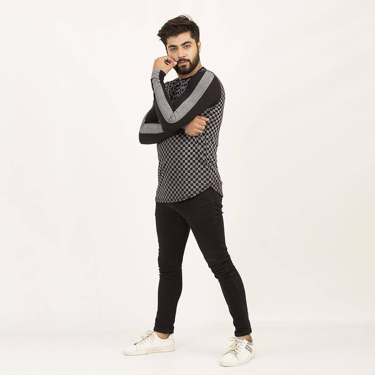 PZ Full Sleeves Black Check Strip Tshirt For Men