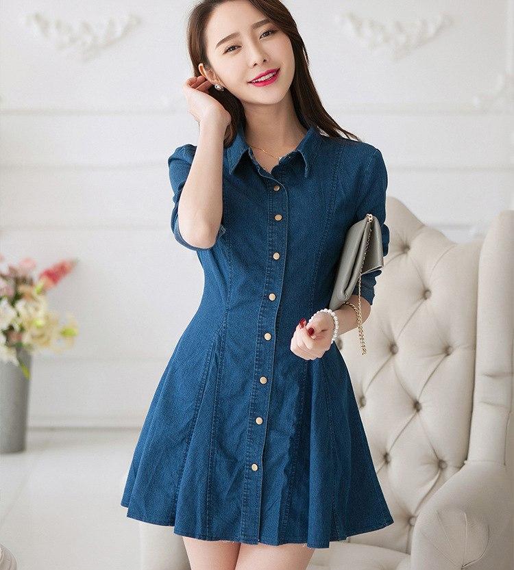 63fa2f19a4 High quality 2019 New Retro Denim Shirt Dress Turn-down Collar Girls Denim  Dress Full