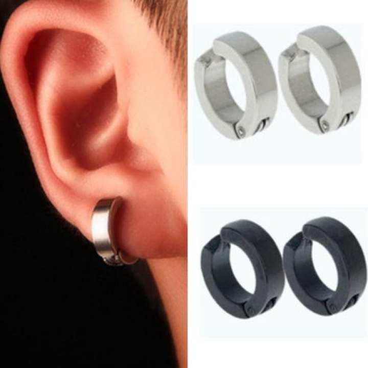Darojay Black Clip Punk Earrings Perfect Gift For Him