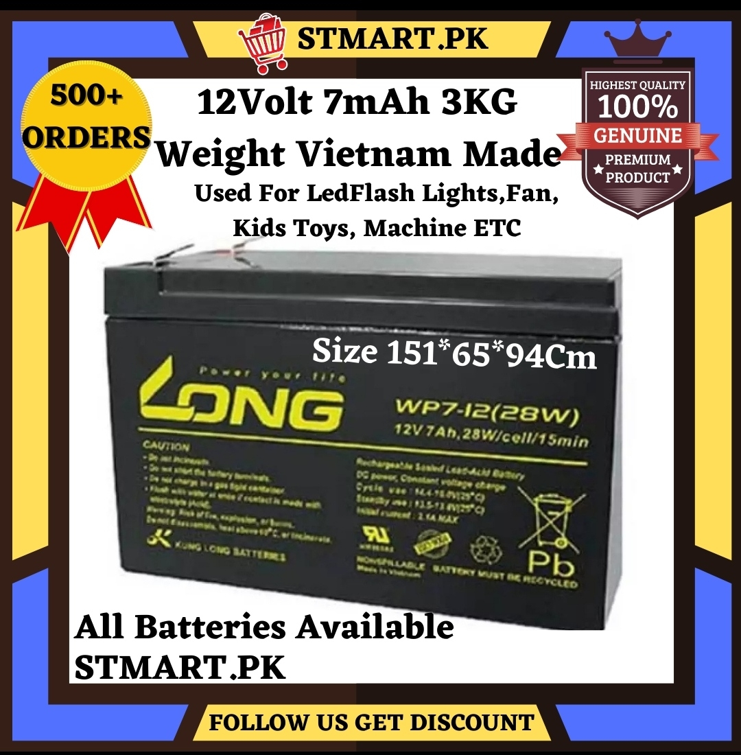 12Volt 7amp Battery Original 12V 7A Battery Long Power For Bike Car Generator UPS Kids Toys Machine Battery Stabilizer Inverter Converter Fan Lights Solar WiFi Router Led lights Rechargeable Fan Electric Scooter With Sealed