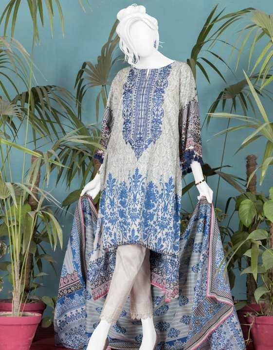 Junaid Jamshed Summer Collection 2019 Vol 2 Blue Unstitched - 3 PCs Suit for Women