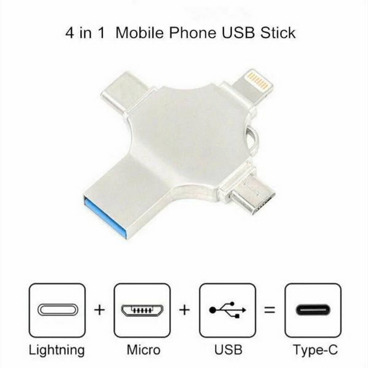 4 in 1 OTG USB Flash Drive For iPhone /Type C Device Micro Usb Stick 32gb  HD Flash Memory USB