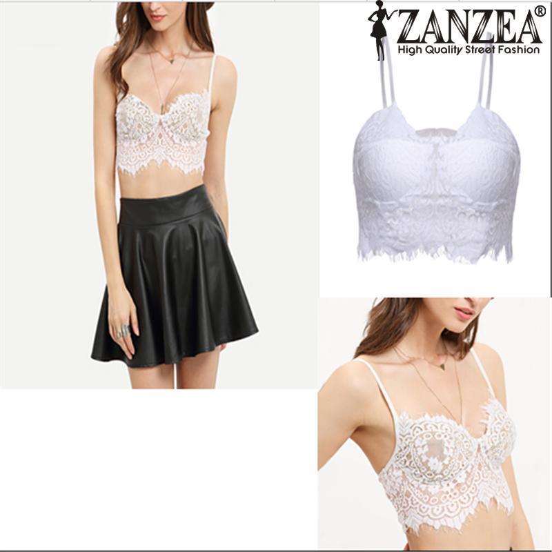 433355f6207 ZANZEA Women Crop Tank Tops Summer Fashion Sexy Spaghetti Strap Hollowout Lace  Crochet Beach Camis Bustier