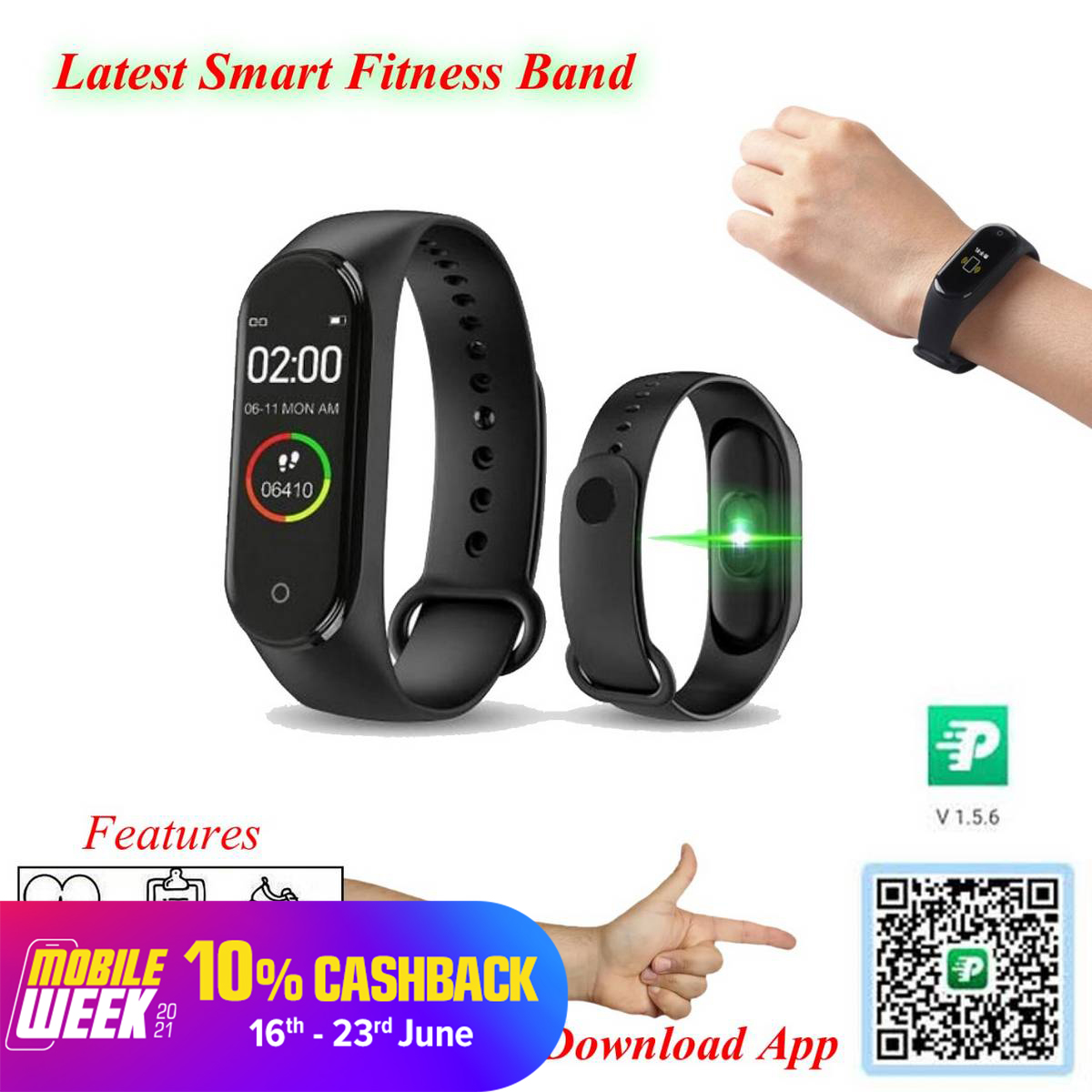 Latest M5 Smart Fitness Band (Black)