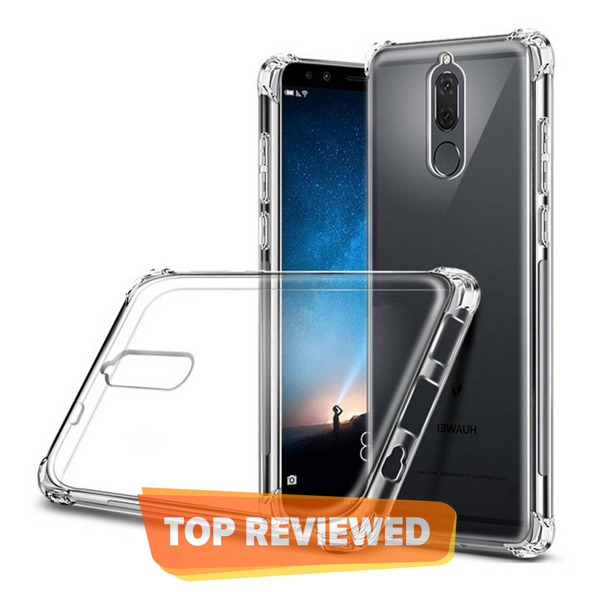Huawei Mate 10 Lite Auto Focus Shock Proof Leather Pattern Armor Soft Back Cover
