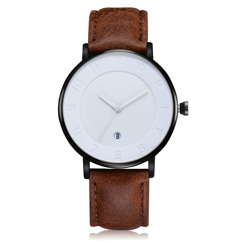 4fa8e768436  Limited Time Clearance Promotion  TOMI Fashionable Business Watch Round  Dial PU Strap Quartz Wristwatch