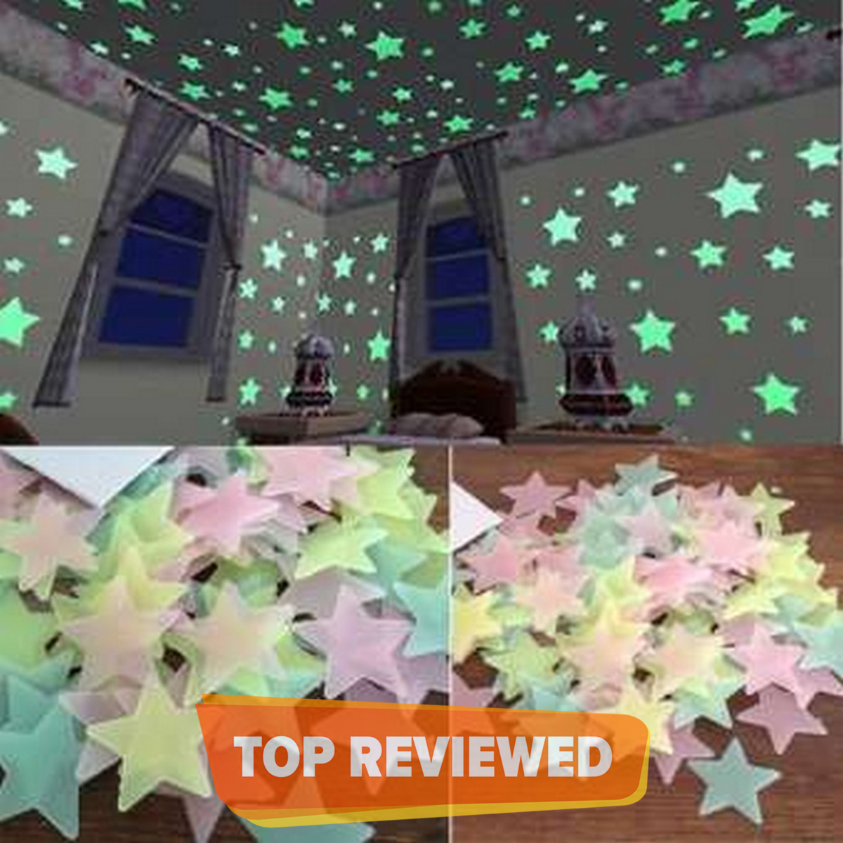 Pack of 100 - 3D Stars Glow In The Dark Wall Stickers Luminous Fluorescent Wall Stickers For Kids Baby Room Bedroom Ceiling Home Decor
