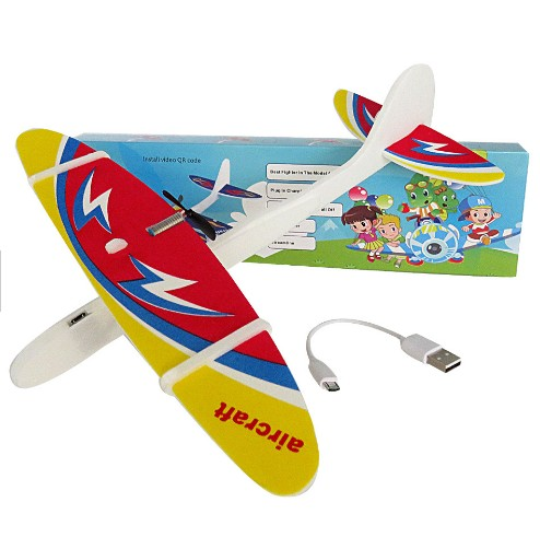 Electric Glider Rechargeable with LED  DIY Educational Toy For Kids DIY Biplane Glider Foam Powered Flying Plane Rechargeable Electric Aircraft Model Science Educational Toys for Children Random Color