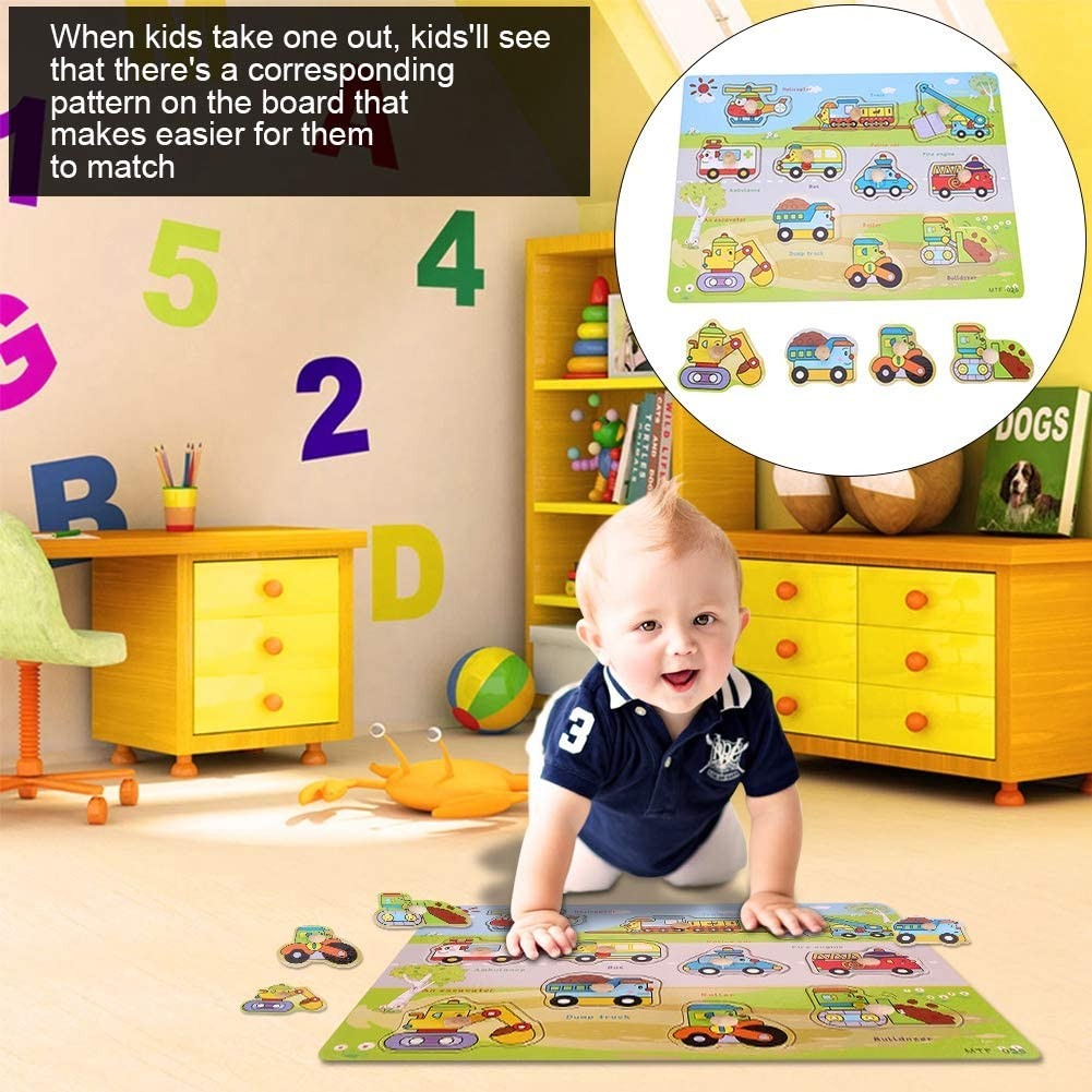 Wooden Puzzle Transport Board Toys Preschool Educational Toy for Kids