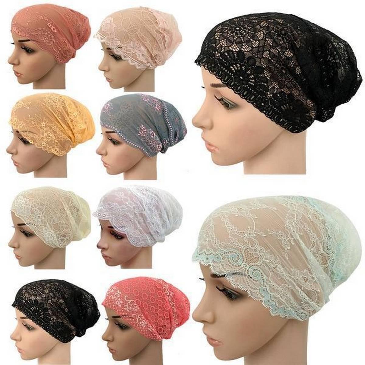 Pack of 3 Muslim Women Lace Hat Islamic Inner Caps Head wear Under scarf Hijab Head wear Wrap