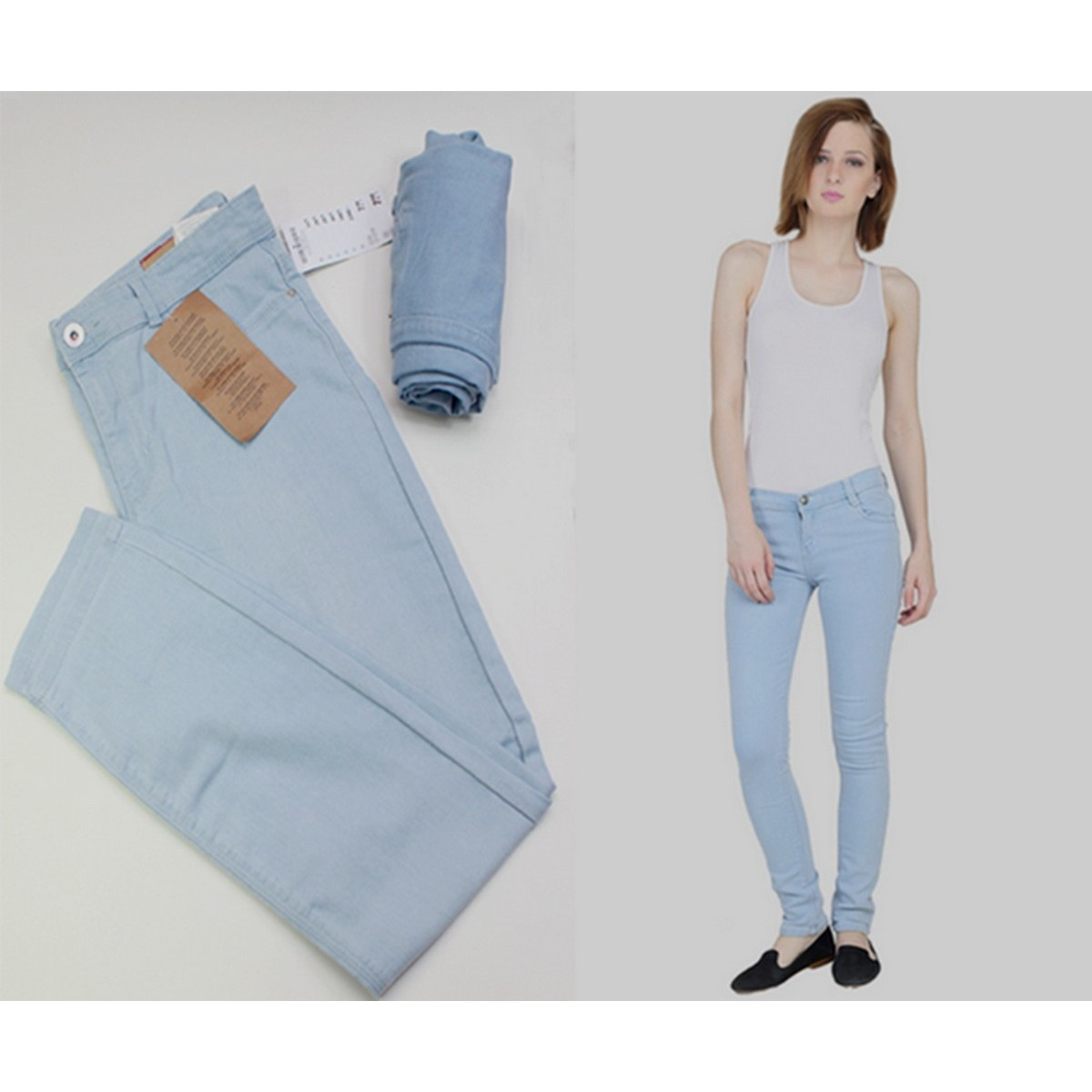 Slim Ladies Girls jeans  Stretchable Pents With no Front Pockets Sky Blue