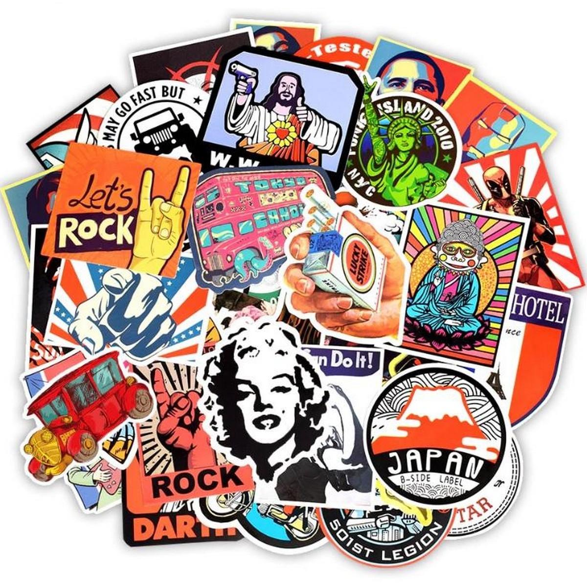 10 Pcs/Pack Retro Style Graffiti Travel Funny Water Proof Stickers for Laptop,Bike,Fridge,TV,Skateboard,Car