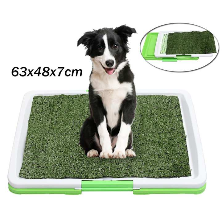 happy-island  63*48*7cm PET POTTY TRAY Indoor Dog Cat Grass Pad Mat Training Toilet Wee Loo Urine Large
