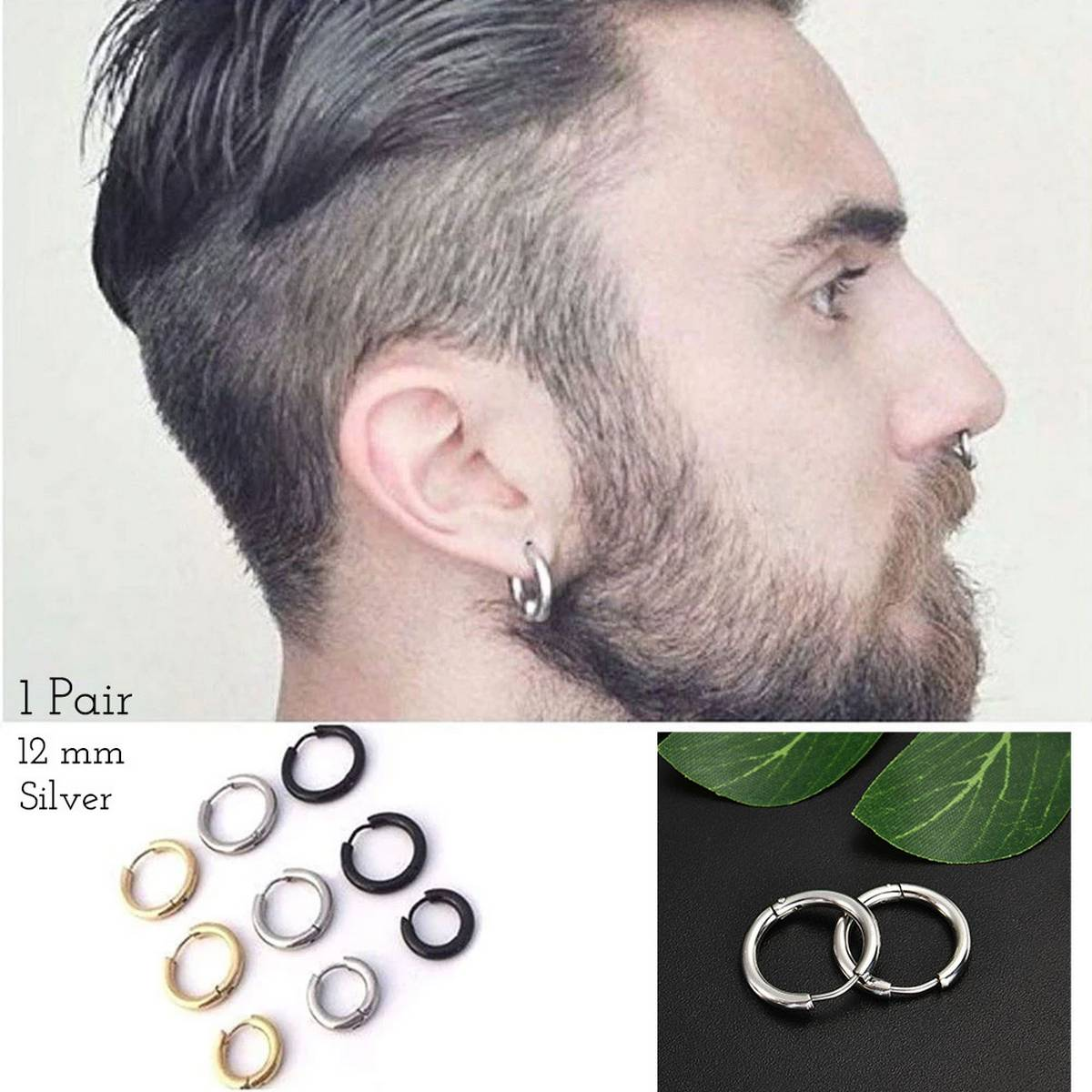 Fashion 2021 Men Punk Gothic Stainless Steel Silver Simple Round Stud Earrings Lover For Boys Mens and Girls Womens Earing Jewellery Jewelry Gift (1 Pair)