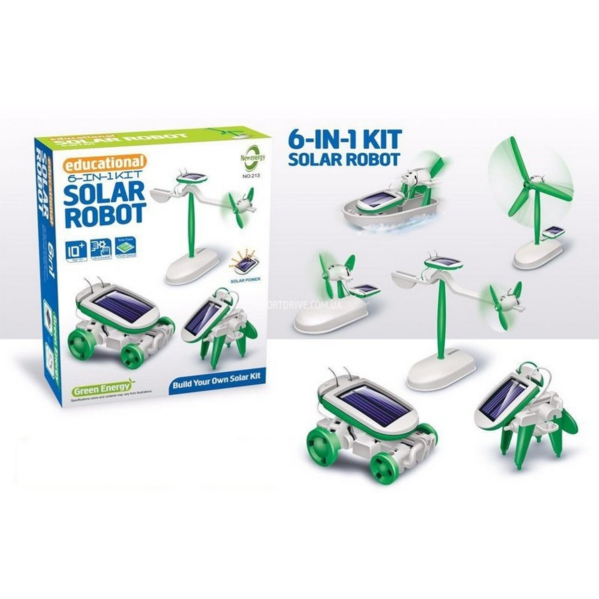 Solar Robot Toys 6 in 1 STEM Learning Kits Educational  Building Kit - Car - Plane - Puppy - Fan - Boat - Windmill - White & Green Experiment Toys DIY Solar Power Science Gift for Kids