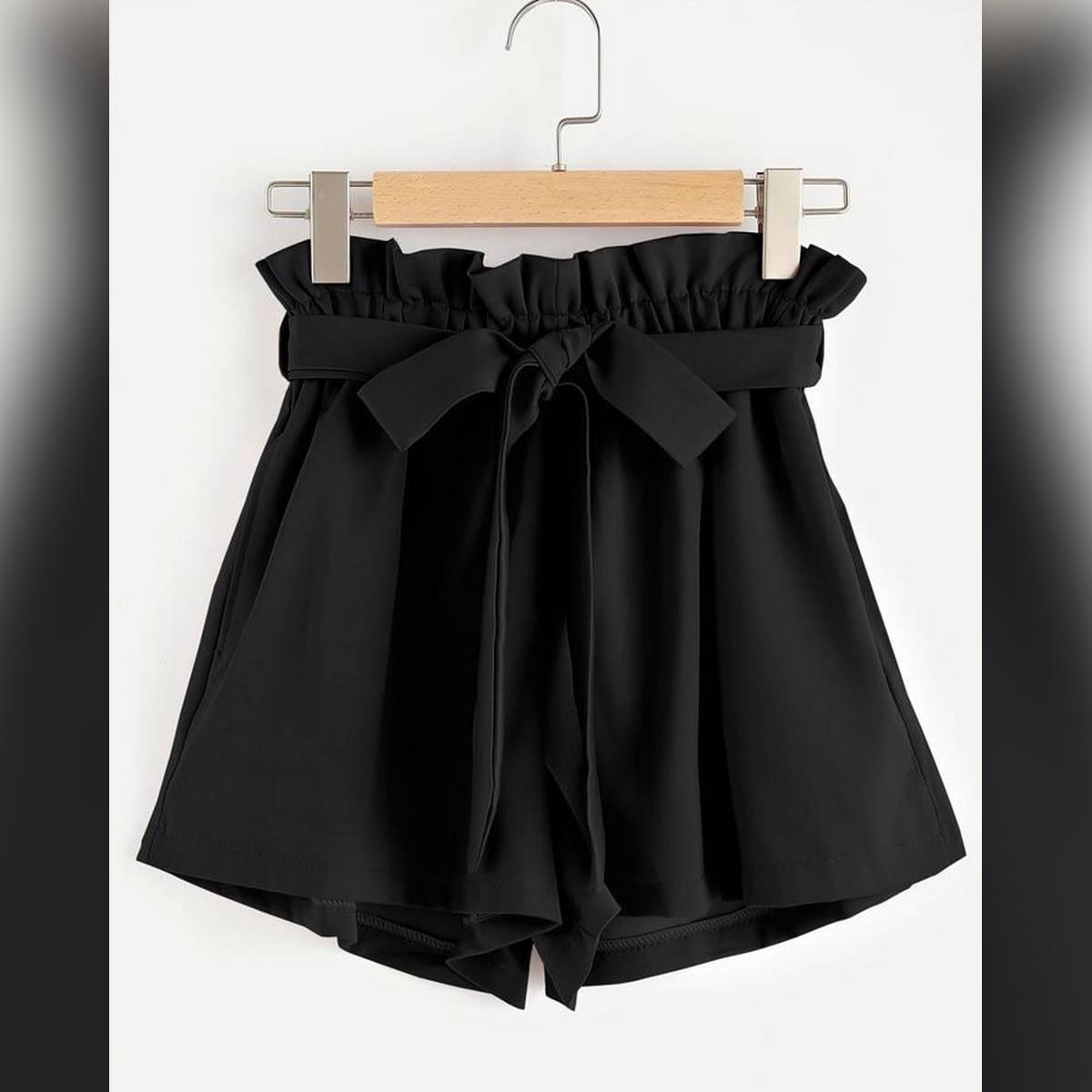 Black Tie Waist Short Pant for Women