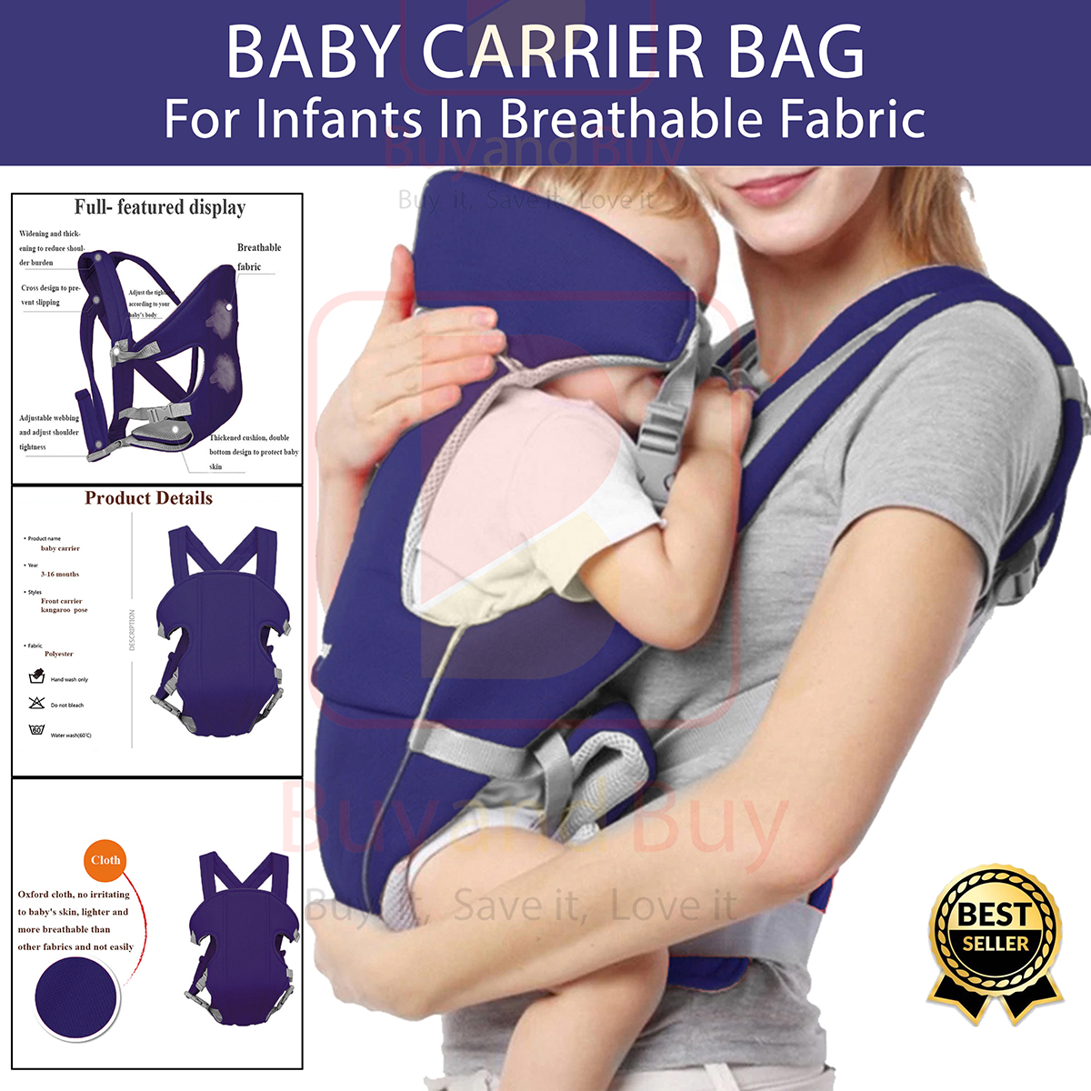 Baby Carrier Backpacks 3-24 Months Portable Baby Cotton Newborn Baby Carrying Belt for Mom Dad