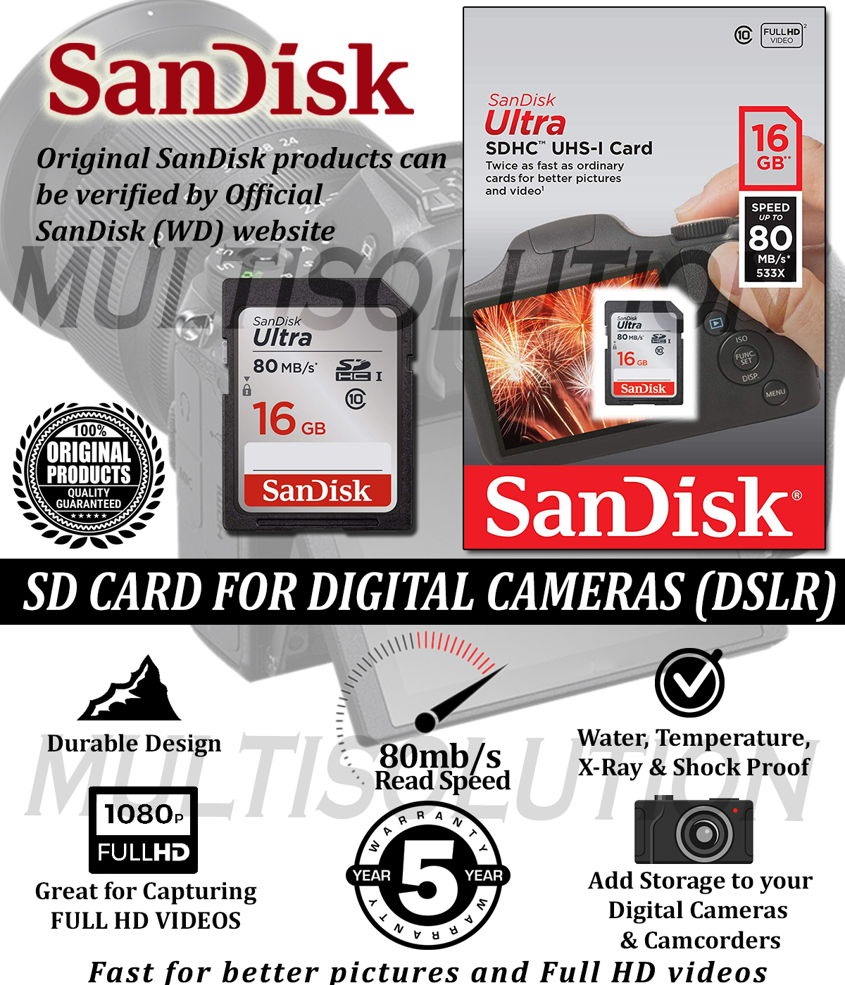 SanDisk 16GB Ultra SDHC Memory Card for Digital Cameras and Camcorders - 5 Years Warranty