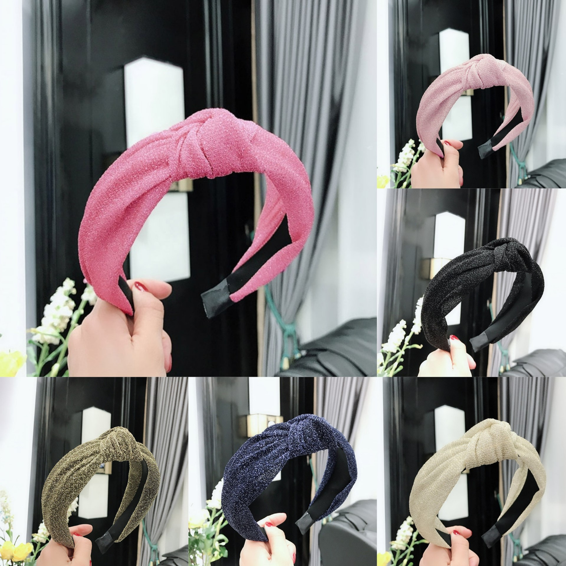 2021 New Women Bowknot Shining Hairband Cross Knotted Sparkle Head band Girls Fashion Fabric Headband Solid Head Hoop Lady Hair Accessories(1Pc)