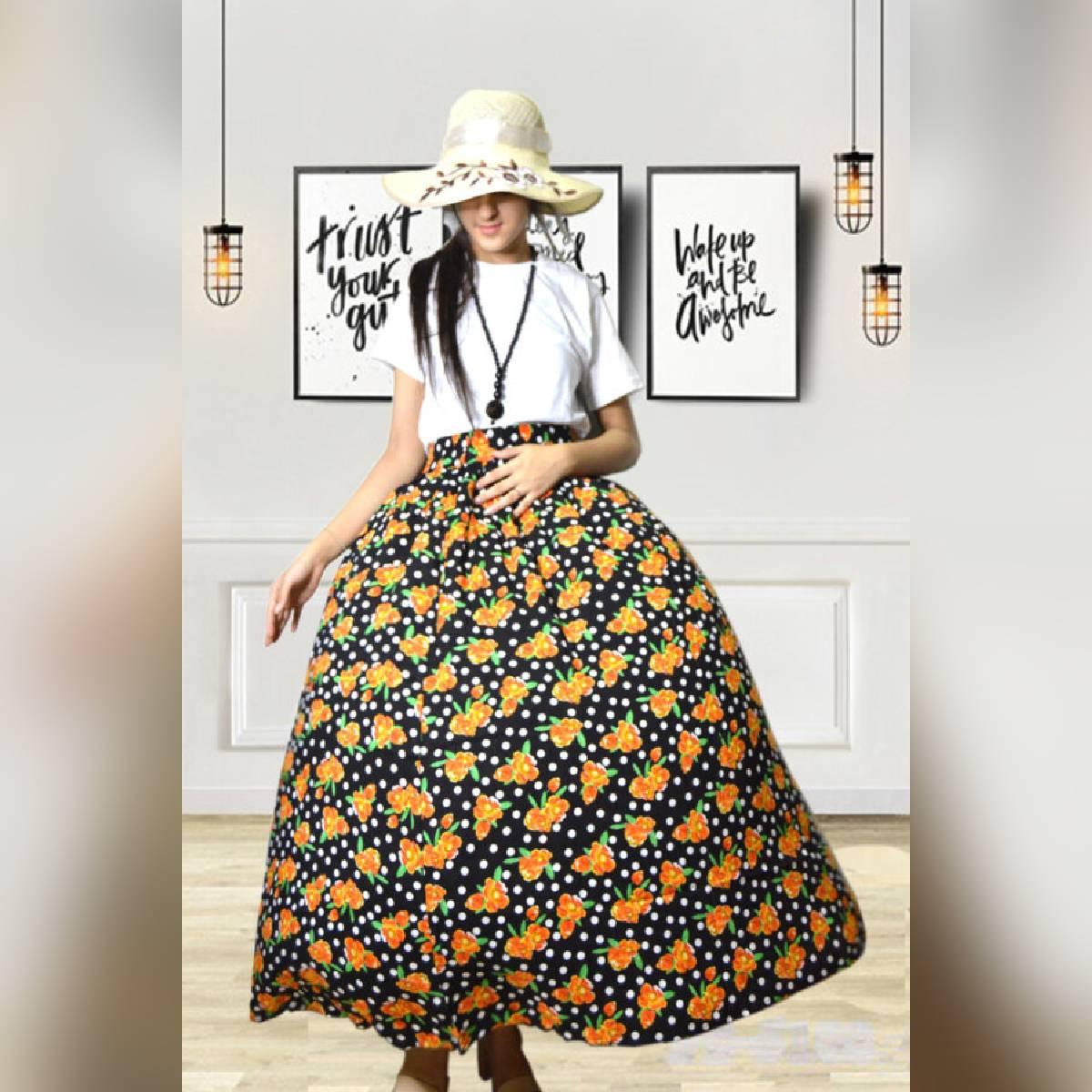 Trendz.pk Multi color Linen Printed Skirt for women teenager PS-012