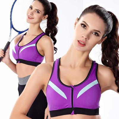 Women Sports Bra Padded Multicolor Double Layer Sports Bra Gym Workout Bra Yoga Exercise Free Size (Suits 30 to 34) Zipper Sports Bra