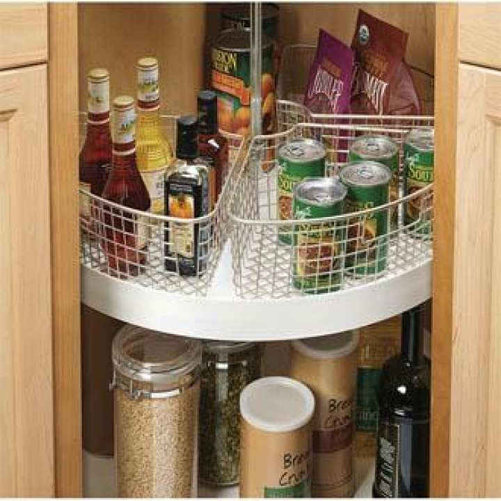 Delux Wire Storage Basket with Handle for Kitchen Cabinets, Pantry - Pack of 4, Chrome