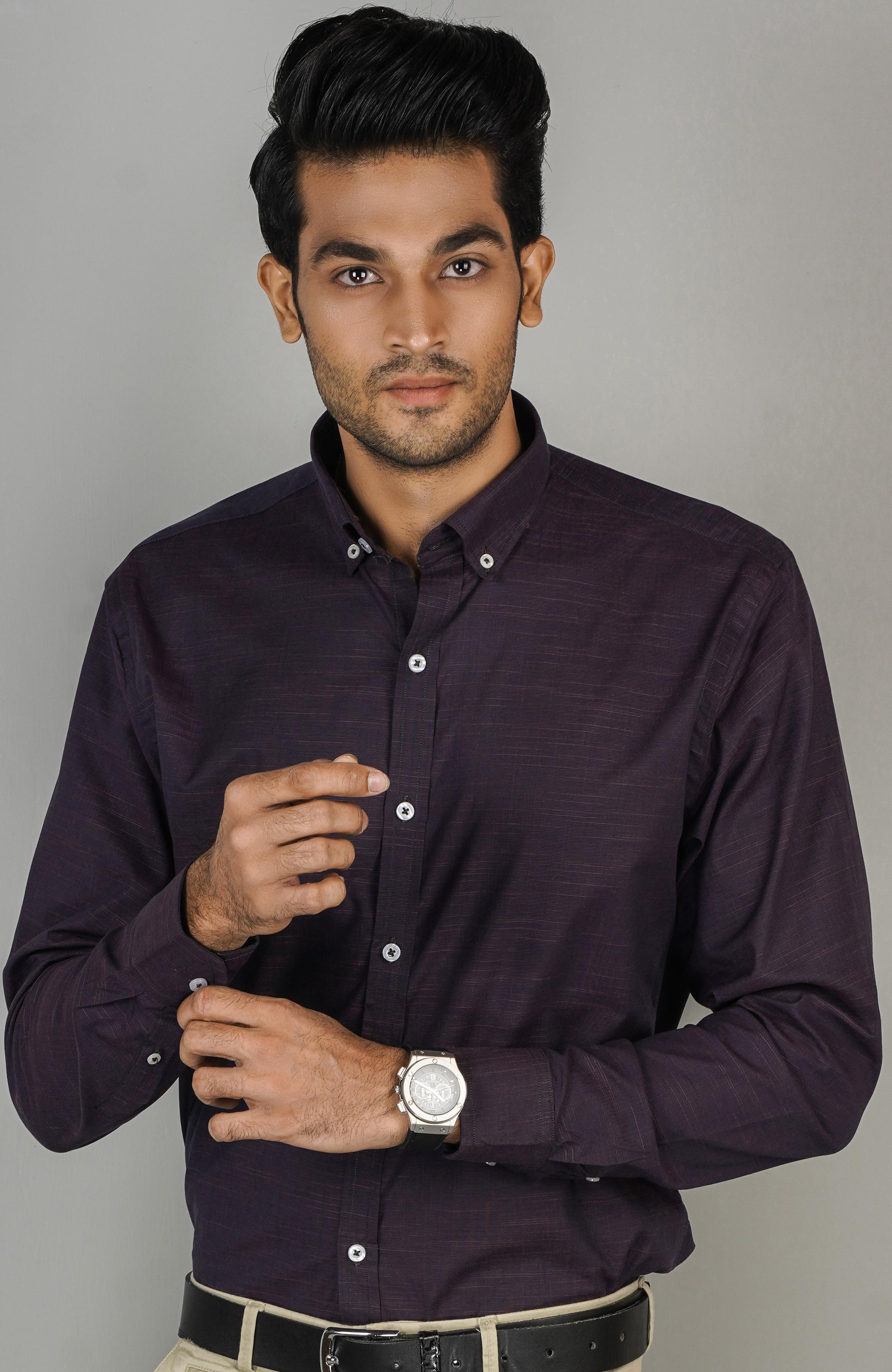 CODE Casual Slim Fit Printed Cotton Long Sleeve Shirt For Men Fashion SKU: CD-22