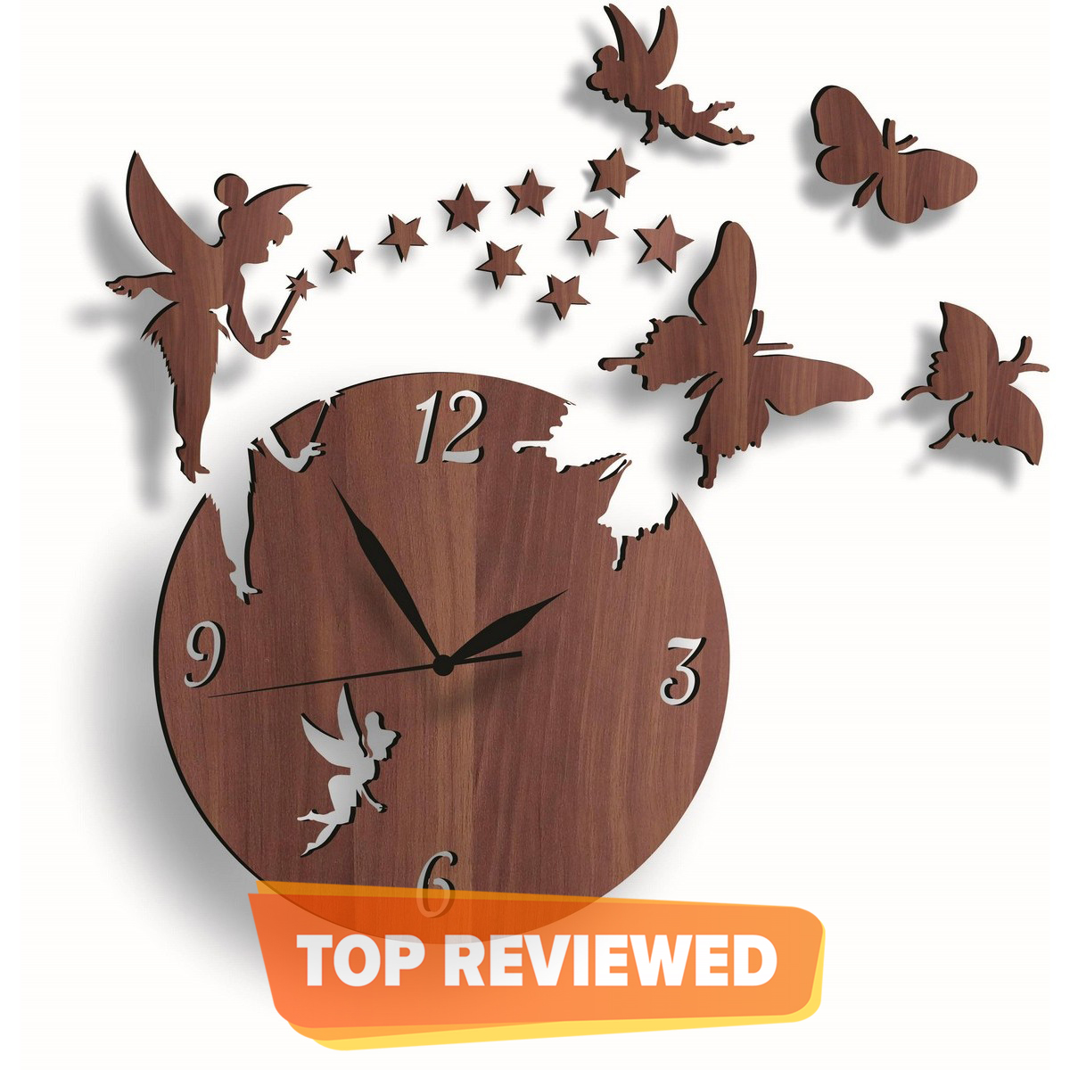 Wooden Wall Clock Fairy Home Decor Watches Good Quality Products, Girls & Kids Favorite Fairy Wooden Wall Clock, 3D Laser Cut Wall Clock 2 Fairy With 9Stars 3Butterflies