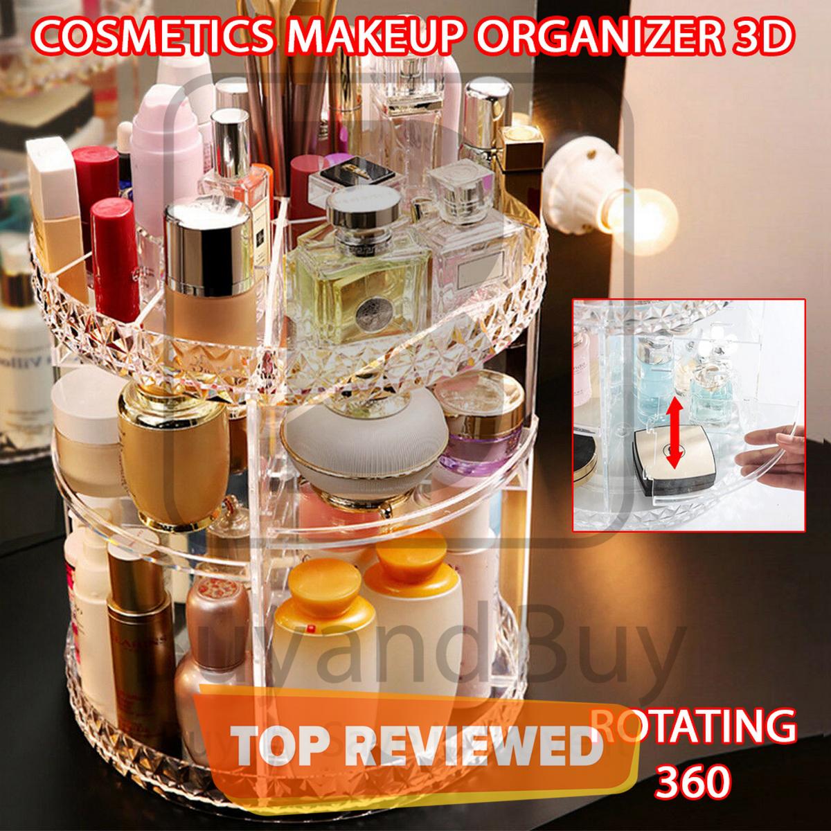(MINOR SCRATCH BUT BEST PRICE LOWEST PRICE) Cosmetics Makeup Organizer 3D Rotating 360