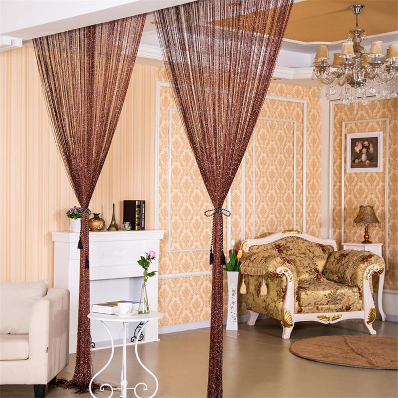 100x200cm Shiny Tassel Flash Brown Line String Curtain Window Door Divider Sheer Curtain Valance Door Treatment Home Decoration