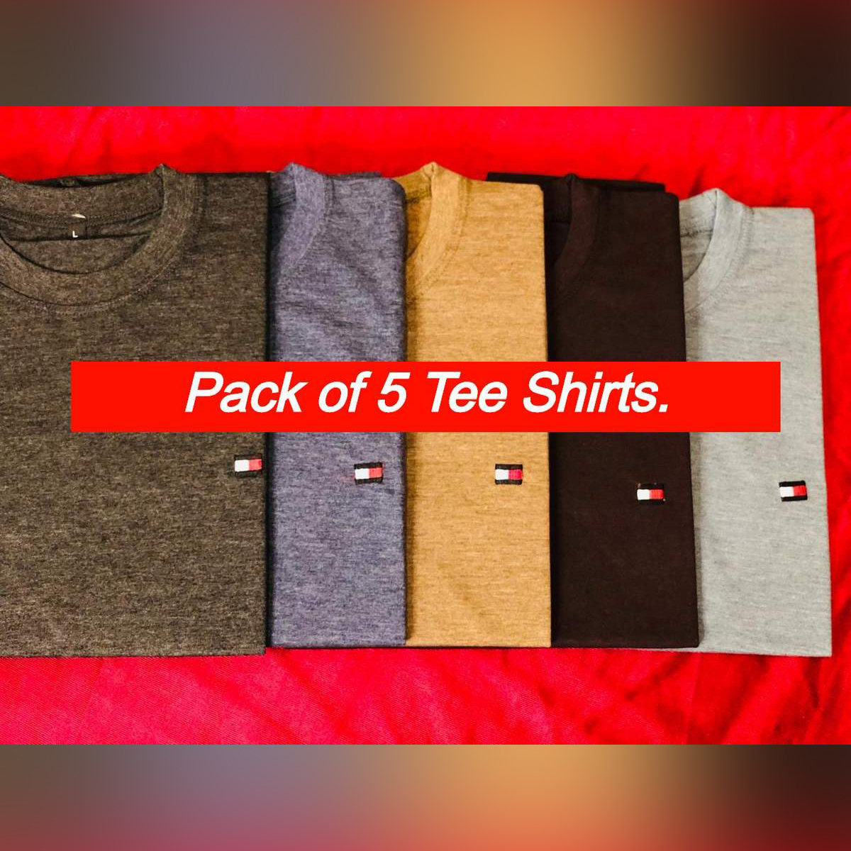 Pack of 5 Multi-Color Tee Shirts for Men and Women - Unisex Tee Shirts