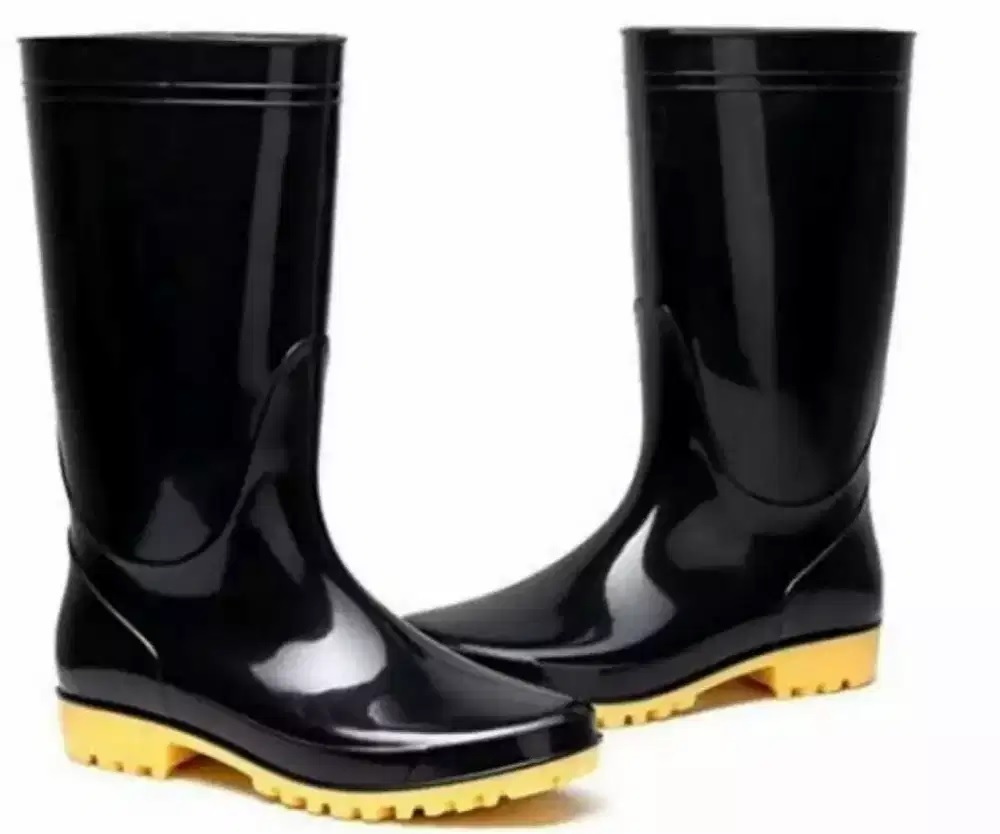 Rain Shoes Boots Pair of Industrial Safety Rain Rubber Long Shoes - Black