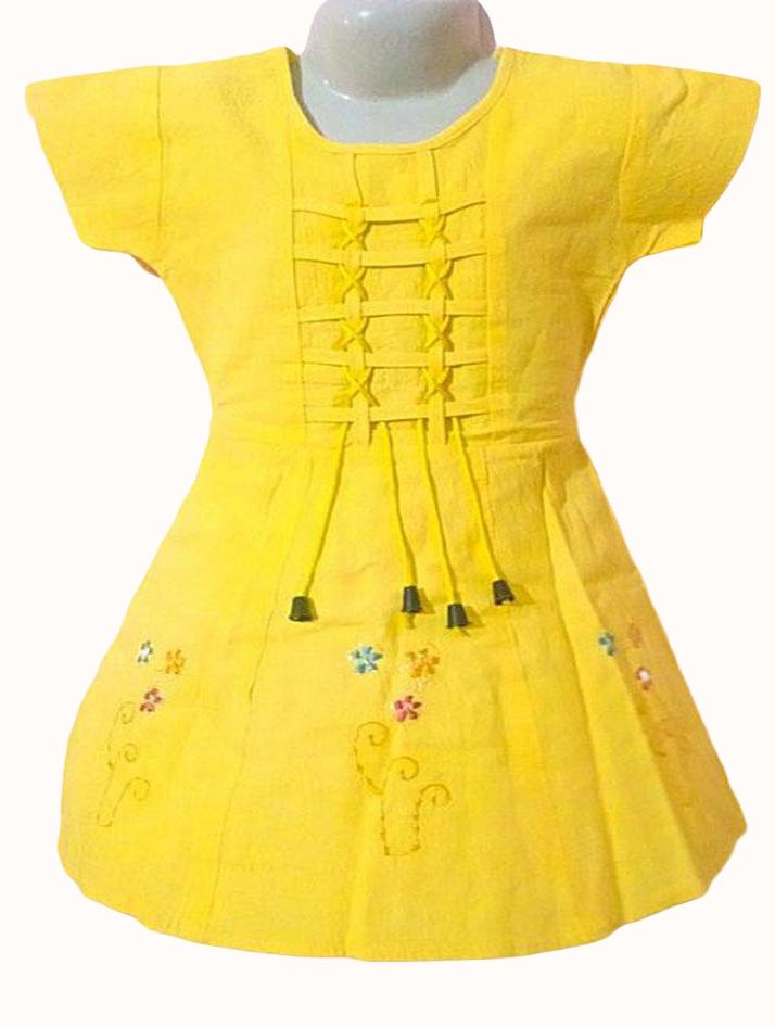 Casual Stone Washed Ruffle Frock For Her-Yellow