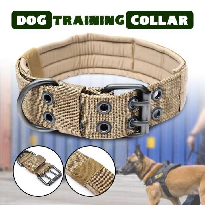Adjustable Control Nylon Military Tactical Dog Collar Buckle Training Harness Brown