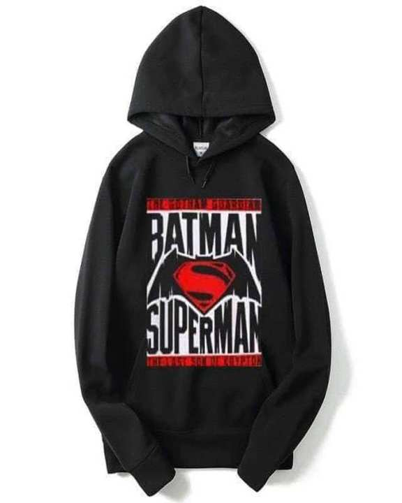 Black Batman VS SuperMan Printed Hoodie For Women