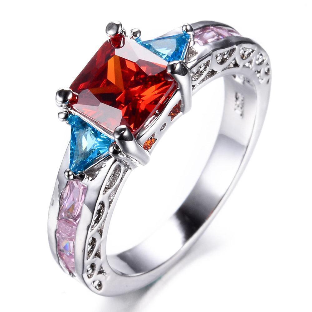 Wedding Engagement Collection Multi Red Blue White Shiny Zircon Diamond Rings for Girls & Women - RW0896