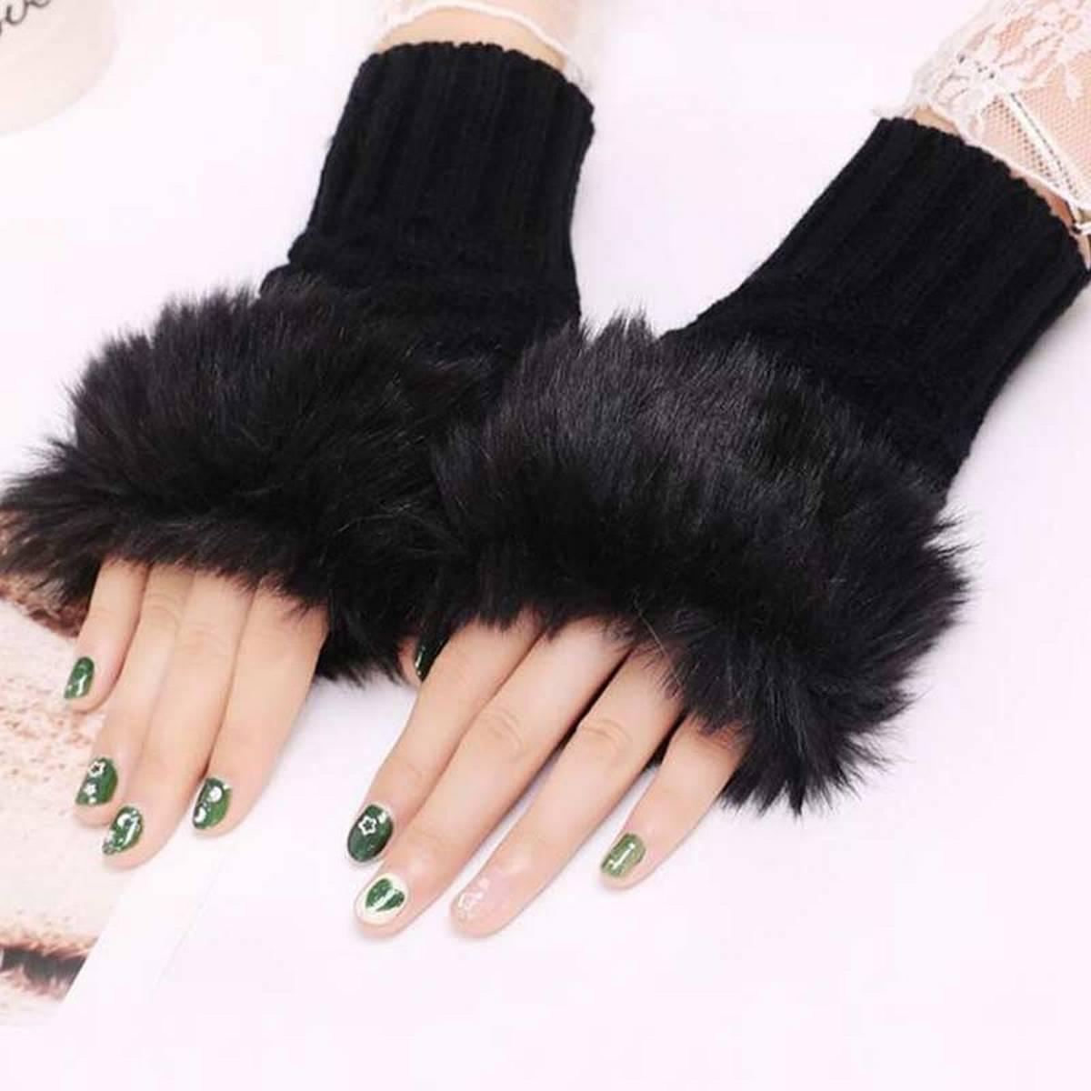 Wool Gloves Fancy Winter Women Grils wool glovs Gloves Knitting Woo wool glovs l Keep Warm Short Mitten Fingerless Lady Girl Half Finger Gloves Rabbit Lady hand Gloves KAAA1063