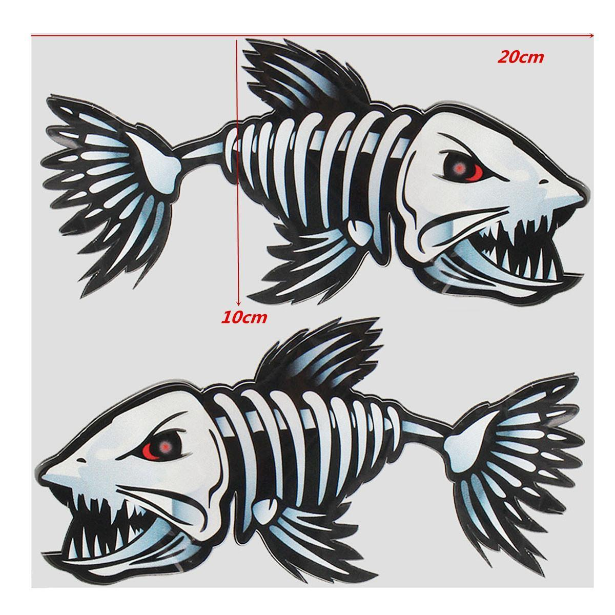 2x Vinyl Skeleton Fish Bone Fishing Boat Kayak Wall Decal Stickers Graphics