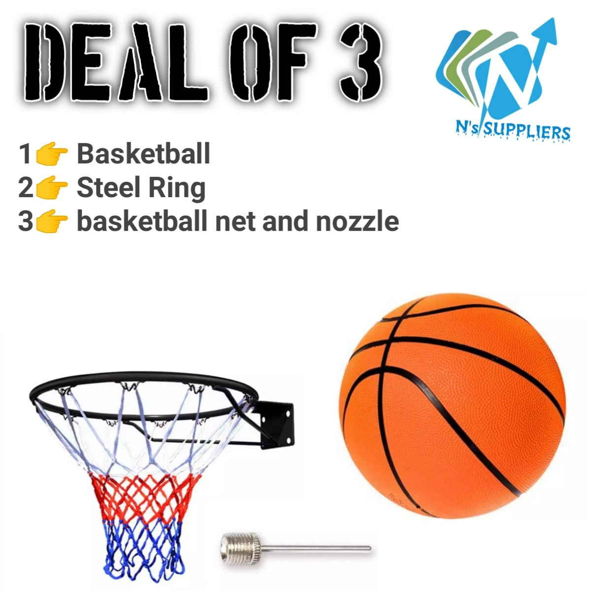 Basket Ball With free Net and steal ring- Standard Size - Multicolor