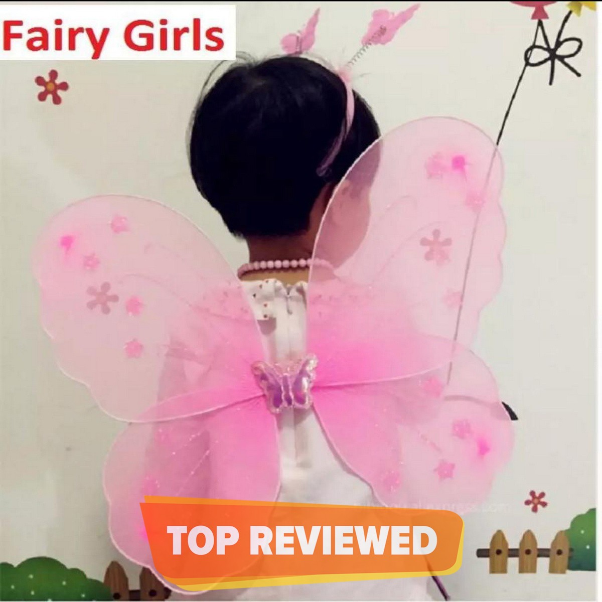 3pcs/Set Butterfly Wing Party Angel Wings Cosplay costume for girls kids princess hairband fairy wants dress Princess Girl Fairy, School Party Dress For Daughter
