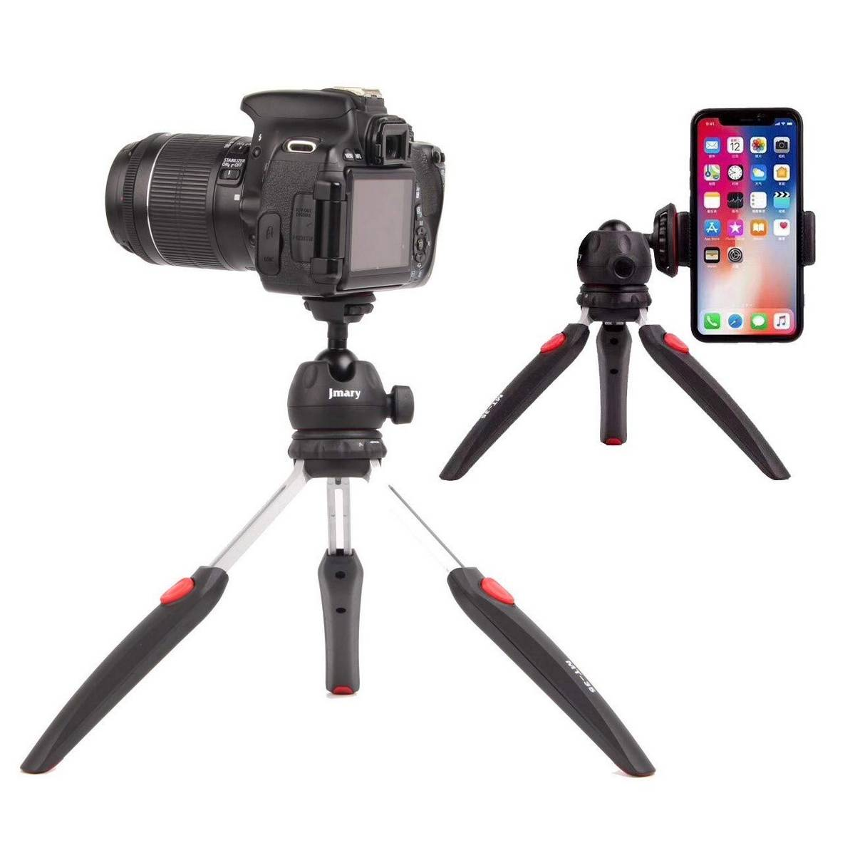 JMARY MT-35 - Table Top Mini Portable Fold-able Extendable Tripod Stand for Mobile Phones and DSLR & Digital Cameras - Coming with Universal Mobile Phone Holder (MT-35-BLK)