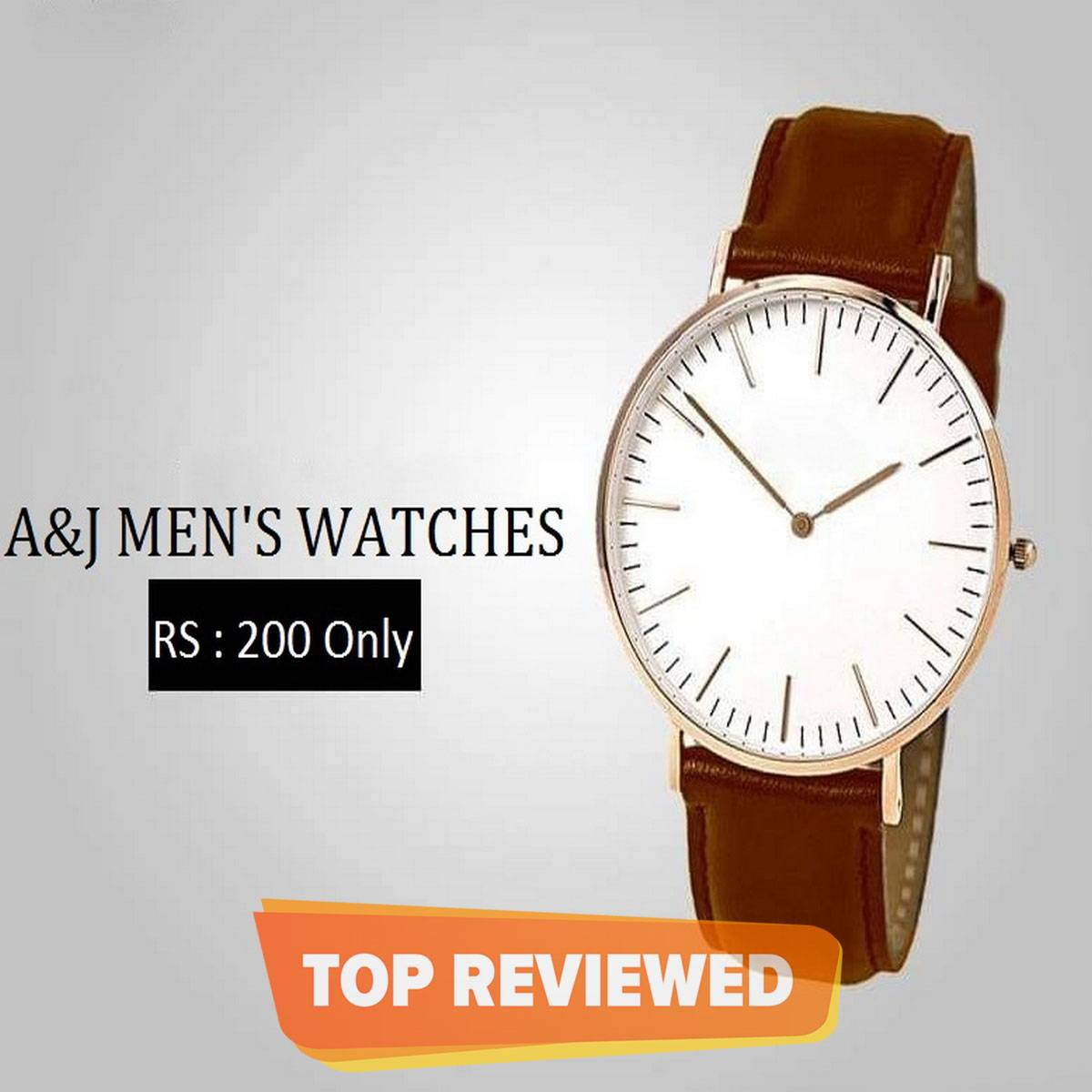 Brown Stainless Steel & Leather Analog Watch for Men
