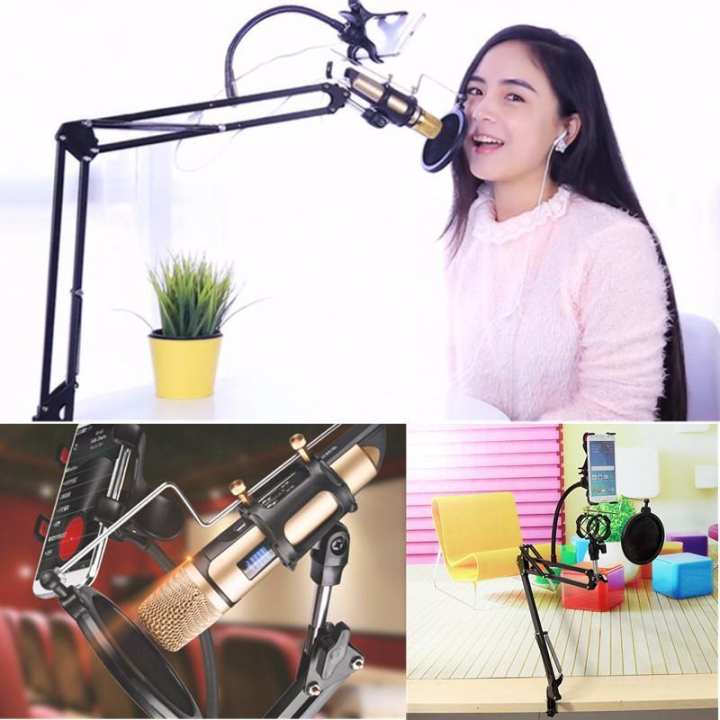 Mic Microphone Suspension Boom Scissor Arm Stand Holder For Studio Broadcast Black