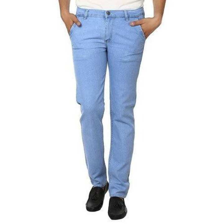Sky / Ice Blue Stretchable Jeans For Men