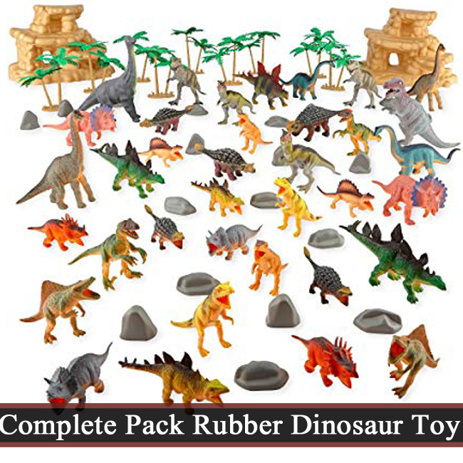 Complete Pack High Quality Rubber Dinosaur Wild Animal Zoo Set Toys For Kids & Boys