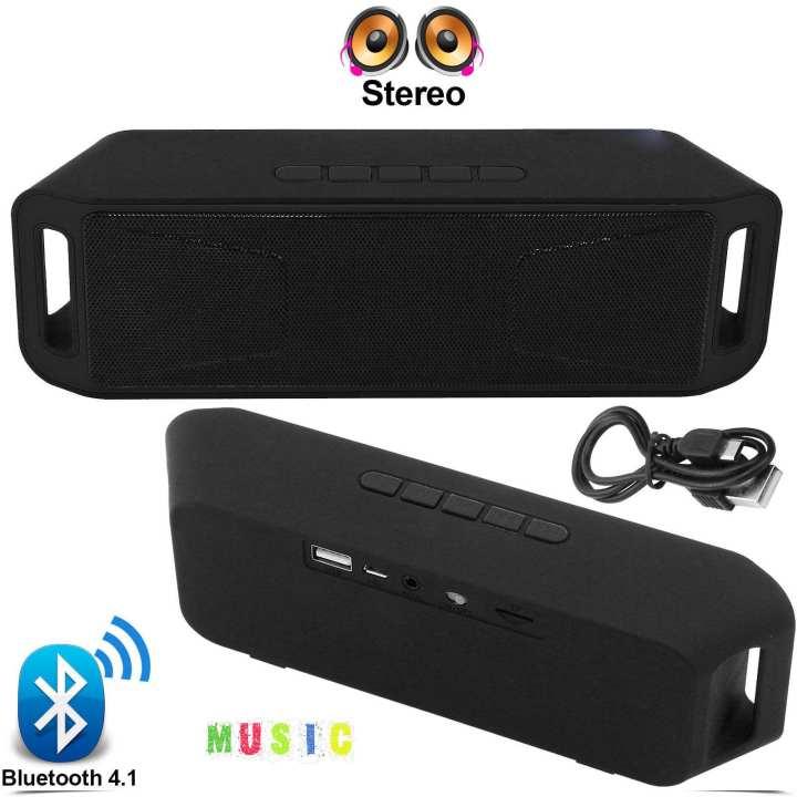 Black Portable Wireless Bluetooth Dual Speaker Portable FM Radio USB Mic TF Card For Outdoor