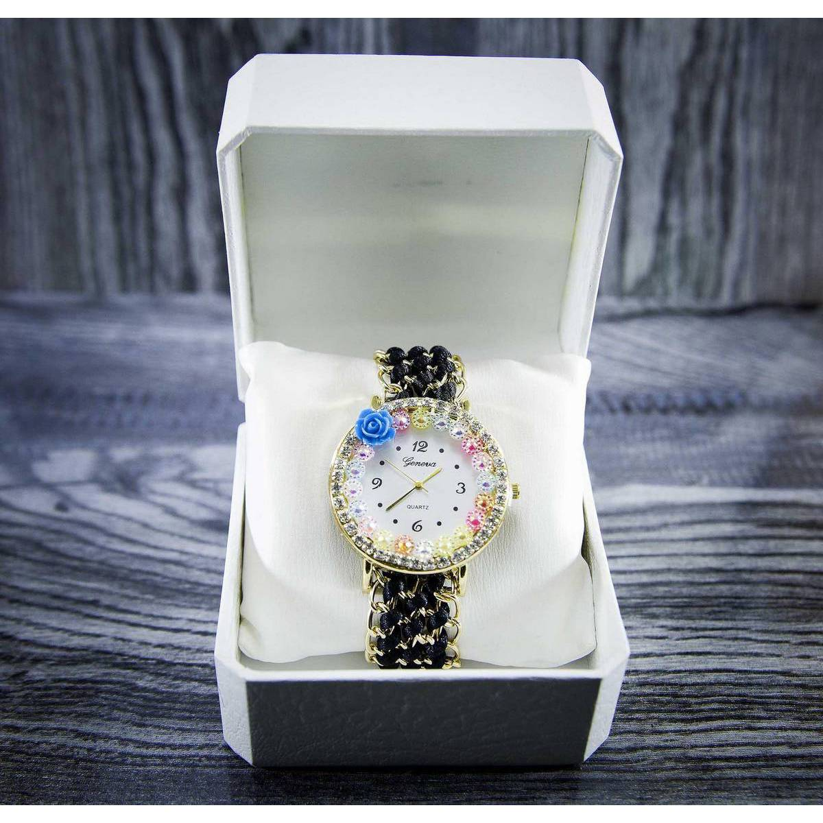 Black Floral Bracelet Watches For Girls With Gift box