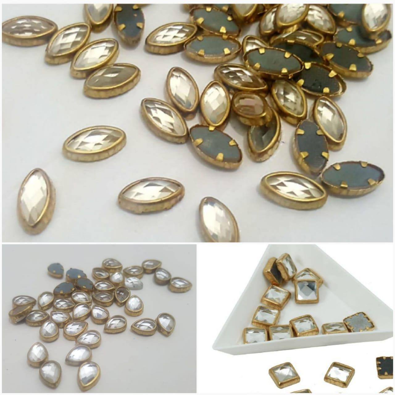 30 Pcs,  Real Kundan Beads DIY Sewing Jewelry Decoration Size Leaf Shape/(10x5mm) square shape(5x5mm) tear eye shape(7x5mm)